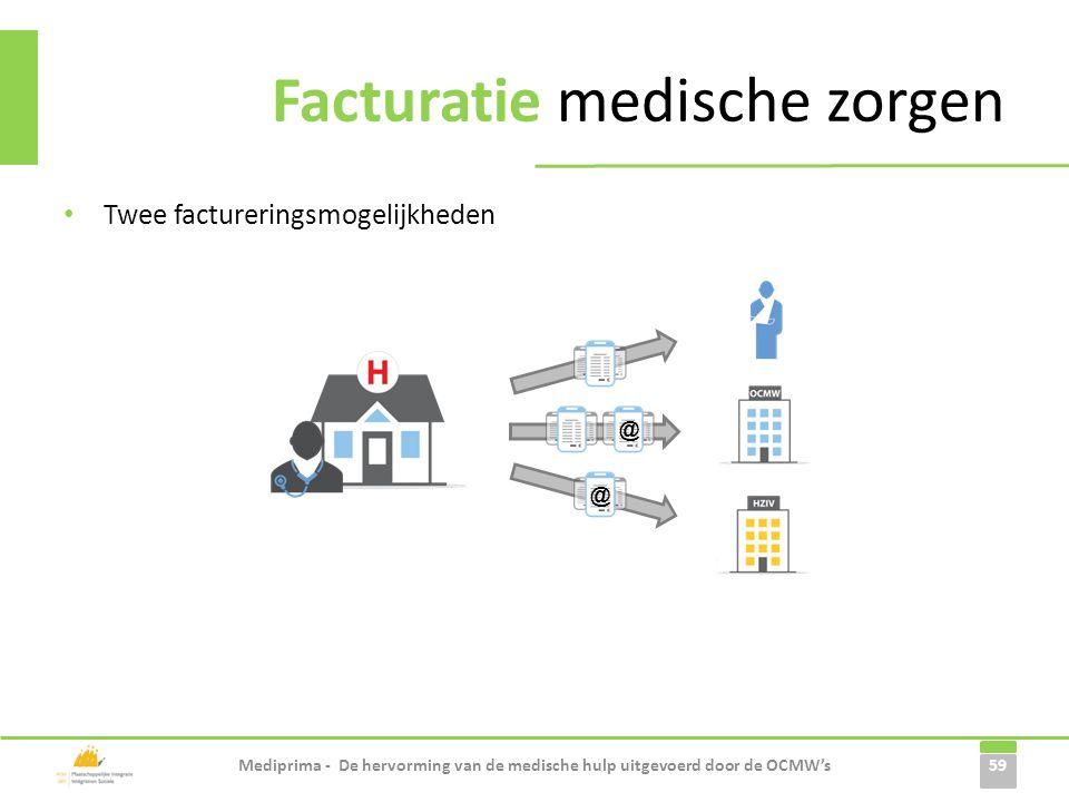 Facturatie medische zorgen • Twee factureringsmogelijkheden 59 Mediprima - De hervorming van de medische hulp uitgevoerd door de OCMW's @ @