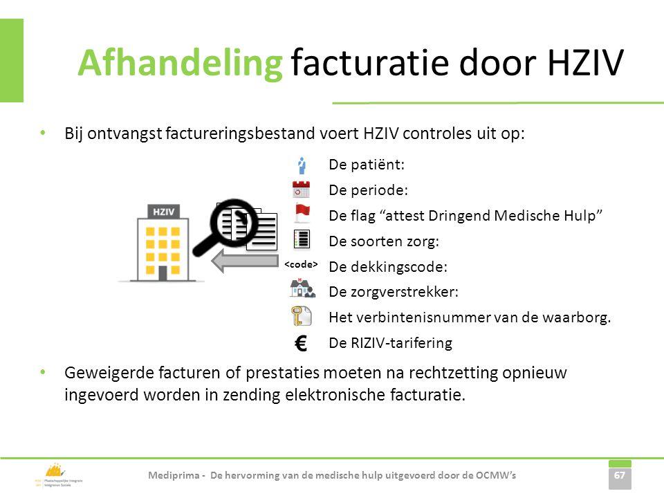 • Bij ontvangst factureringsbestand voert HZIV controles uit op: • Geweigerde facturen of prestaties moeten na rechtzetting opnieuw ingevoerd worden i
