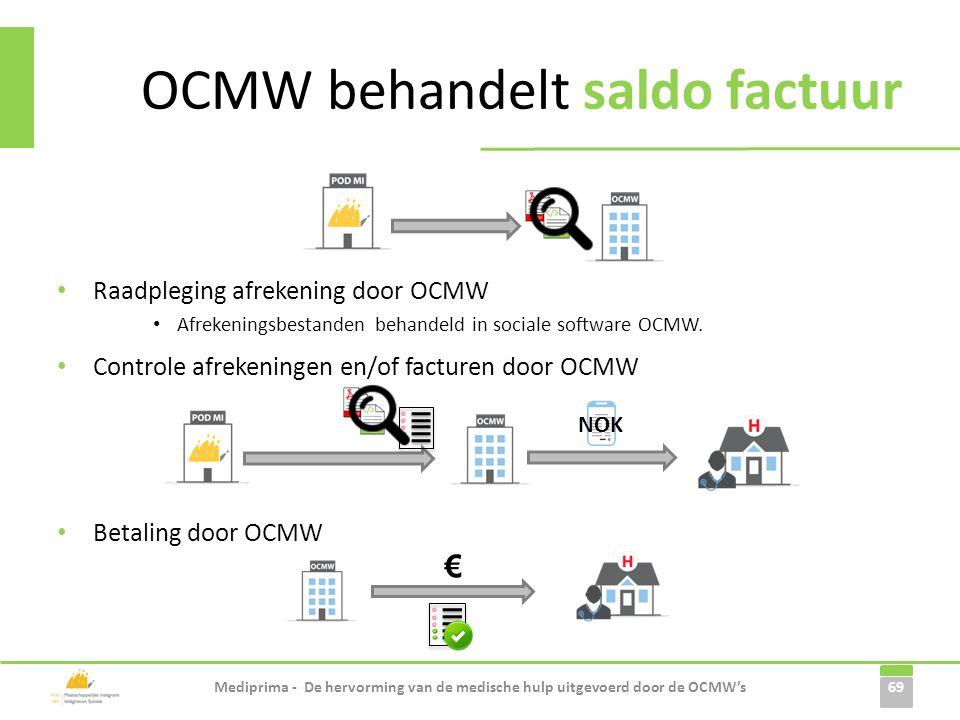 • Raadpleging afrekening door OCMW • Afrekeningsbestanden behandeld in sociale software OCMW. 69 OCMW behandelt saldo factuur Mediprima - De hervormin