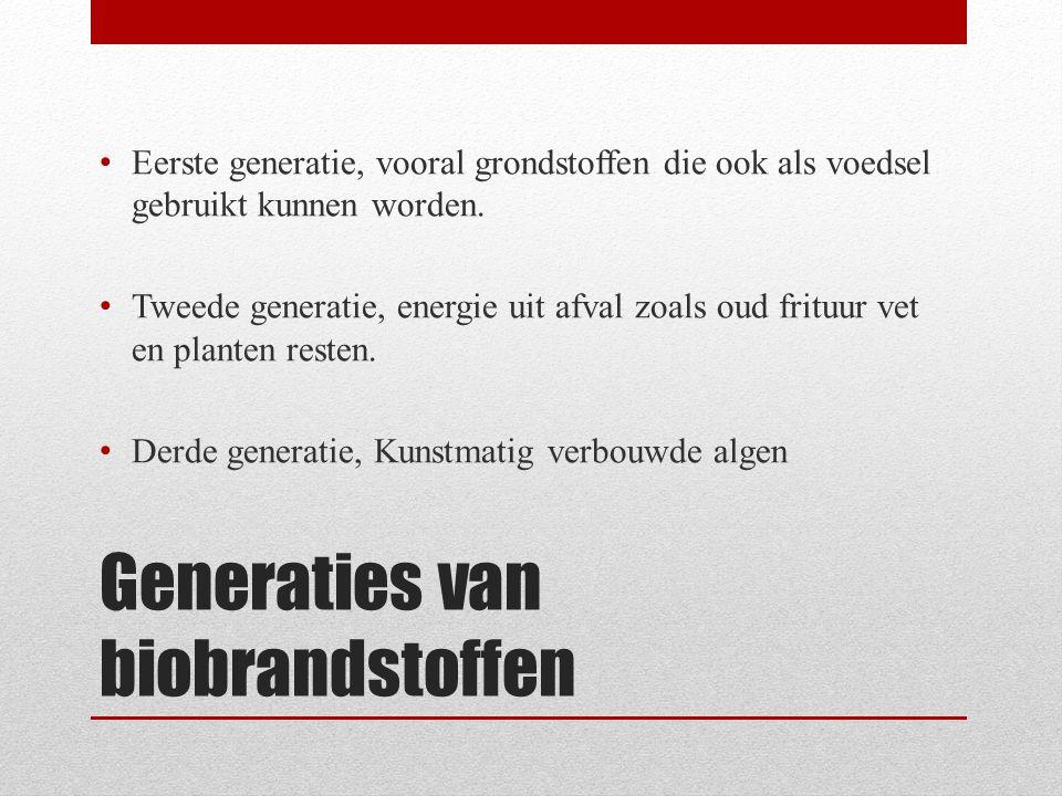 Generaties van biobrandstoffen • Eerste generatie, vooral grondstoffen die ook als voedsel gebruikt kunnen worden. • Tweede generatie, energie uit afv