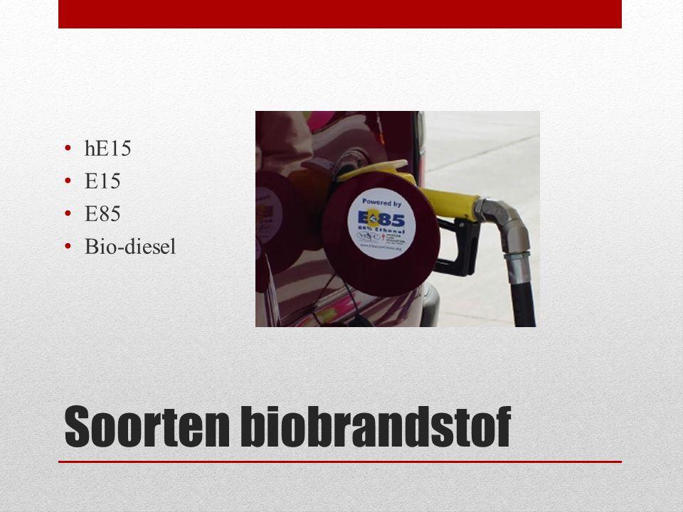 Soorten biobrandstof • hE15 • E15 • E85 • Bio-diesel