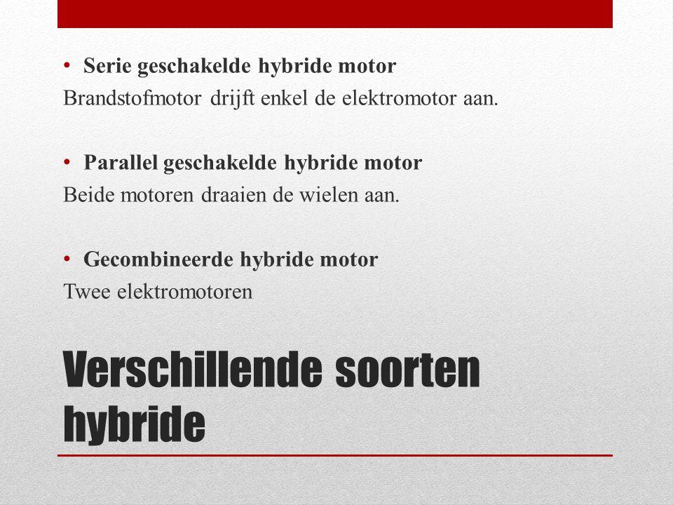 Verschillende soorten hybride • Serie geschakelde hybride motor Brandstofmotor drijft enkel de elektromotor aan. • Parallel geschakelde hybride motor