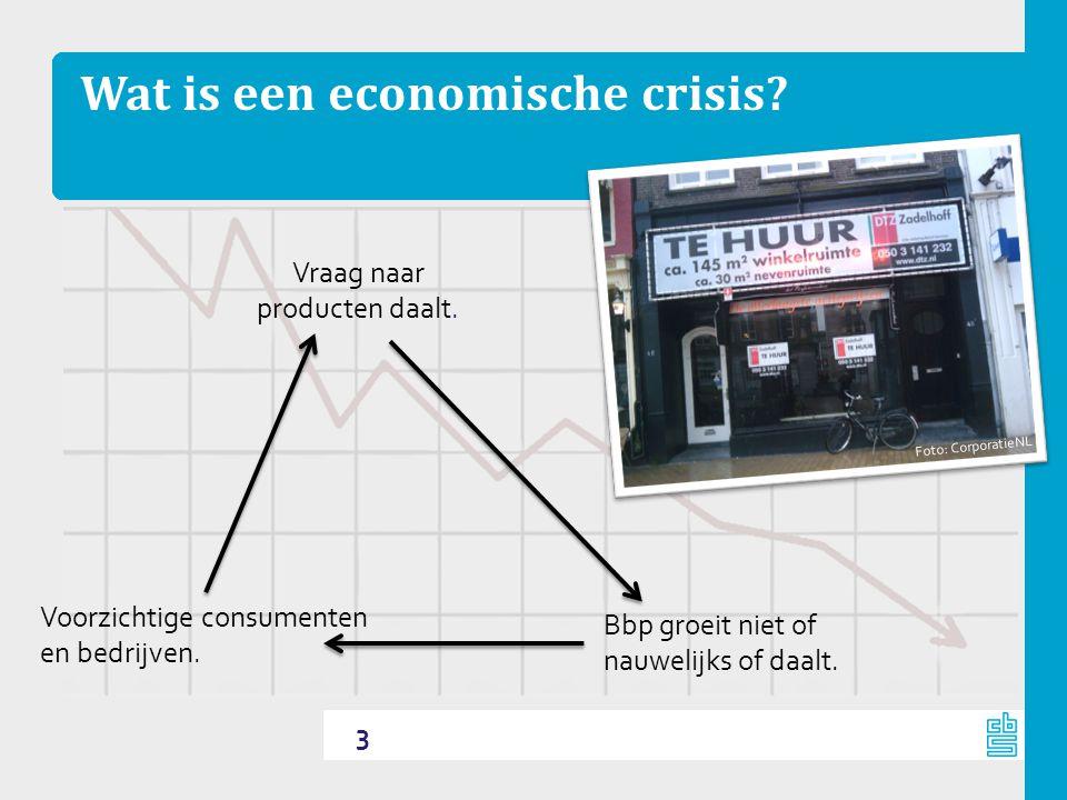 Wat is een economische crisis. 3 Bbp groeit niet of nauwelijks of daalt.