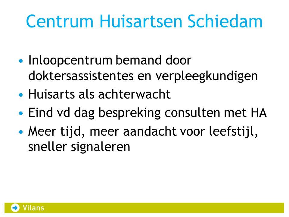 Centrum Huisartsen Schiedam •Inloopcentrum bemand door doktersassistentes en verpleegkundigen •Huisarts als achterwacht •Eind vd dag bespreking consul