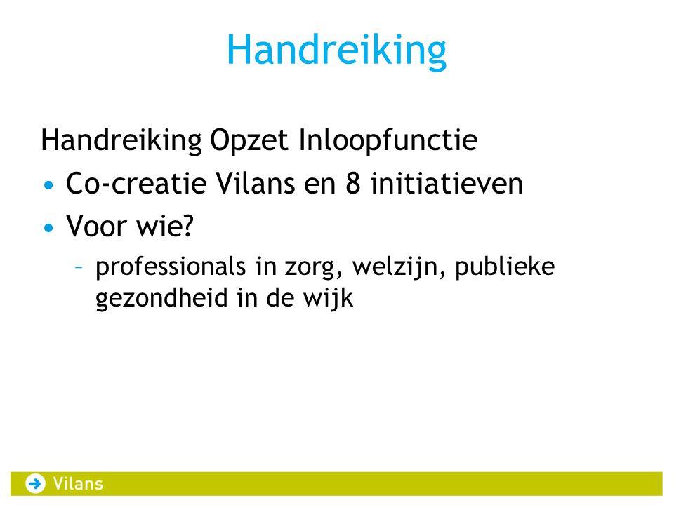 Handreiking Handreiking Opzet Inloopfunctie •Co-creatie Vilans en 8 initiatieven •Voor wie? –professionals in zorg, welzijn, publieke gezondheid in de