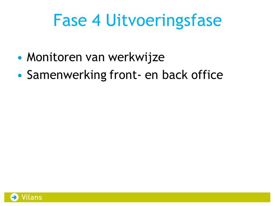 Fase 4 Uitvoeringsfase •Monitoren van werkwijze •Samenwerking front- en back office