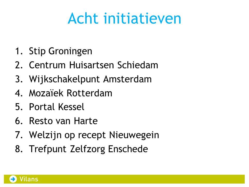 Acht initiatieven 1.Stip Groningen 2.Centrum Huisartsen Schiedam 3.Wijkschakelpunt Amsterdam 4.Mozaïek Rotterdam 5.Portal Kessel 6.Resto van Harte 7.W