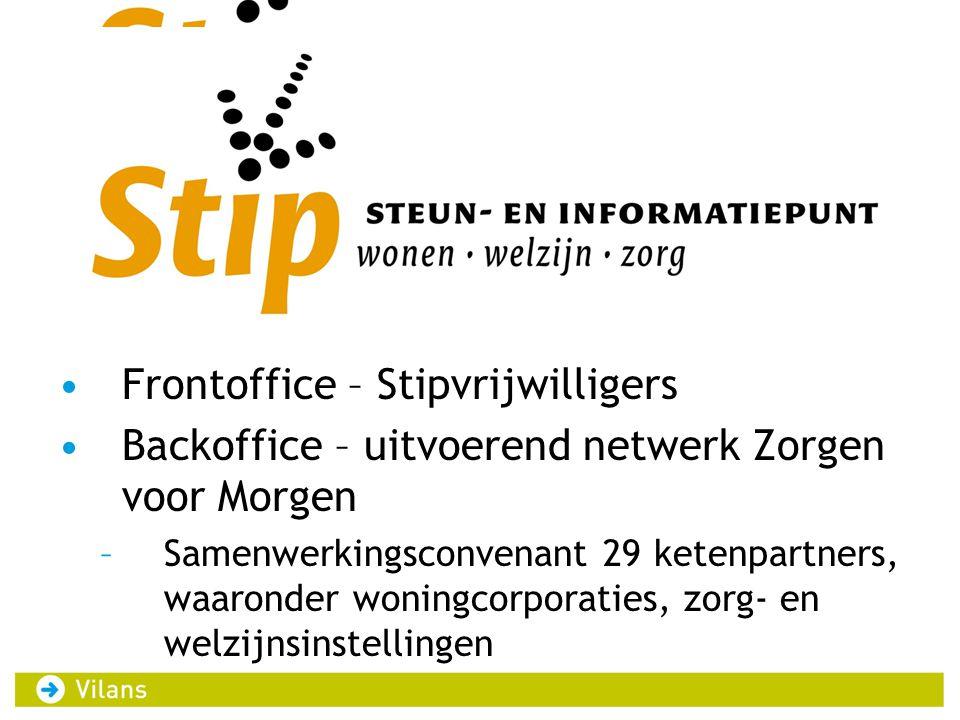 •F •Frontoffice – Stipvrijwilligers •Backoffice – uitvoerend netwerk Zorgen voor Morgen –Samenwerkingsconvenant 29 ketenpartners, waaronder woningcorp