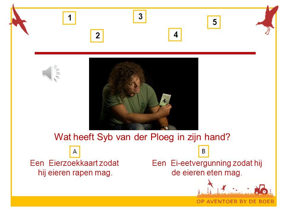 1 2 3 4 5 Wat heeft Syb van der Ploeg in zijn hand.
