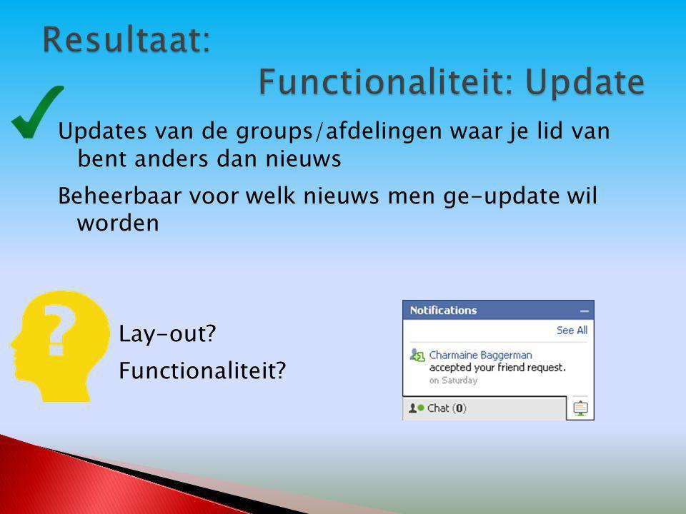 Updates van de groups/afdelingen waar je lid van bent anders dan nieuws Beheerbaar voor welk nieuws men ge-update wil worden Lay-out? Functionaliteit?