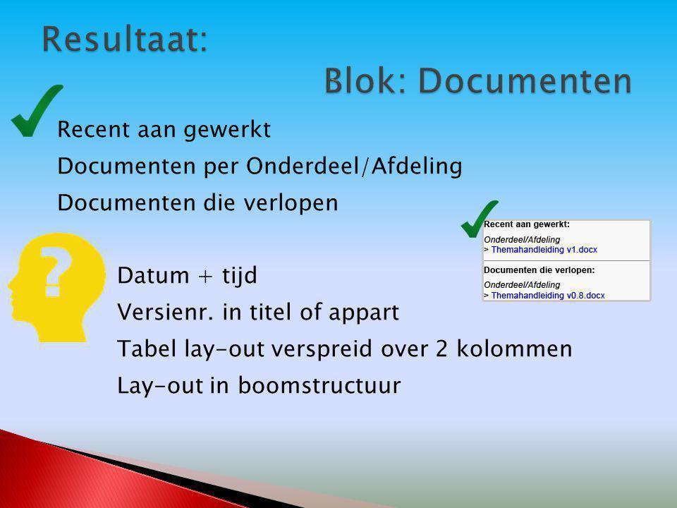 Recent aan gewerkt Documenten per Onderdeel/Afdeling Documenten die verlopen Datum + tijd Versienr. in titel of appart Tabel lay-out verspreid over 2