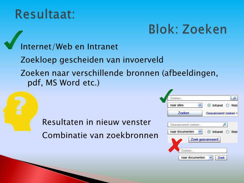 Internet/Web en Intranet Zoekloep gescheiden van invoerveld Zoeken naar verschillende bronnen (afbeeldingen, pdf, MS Word etc.) Resultaten in nieuw venster Combinatie van zoekbronnen