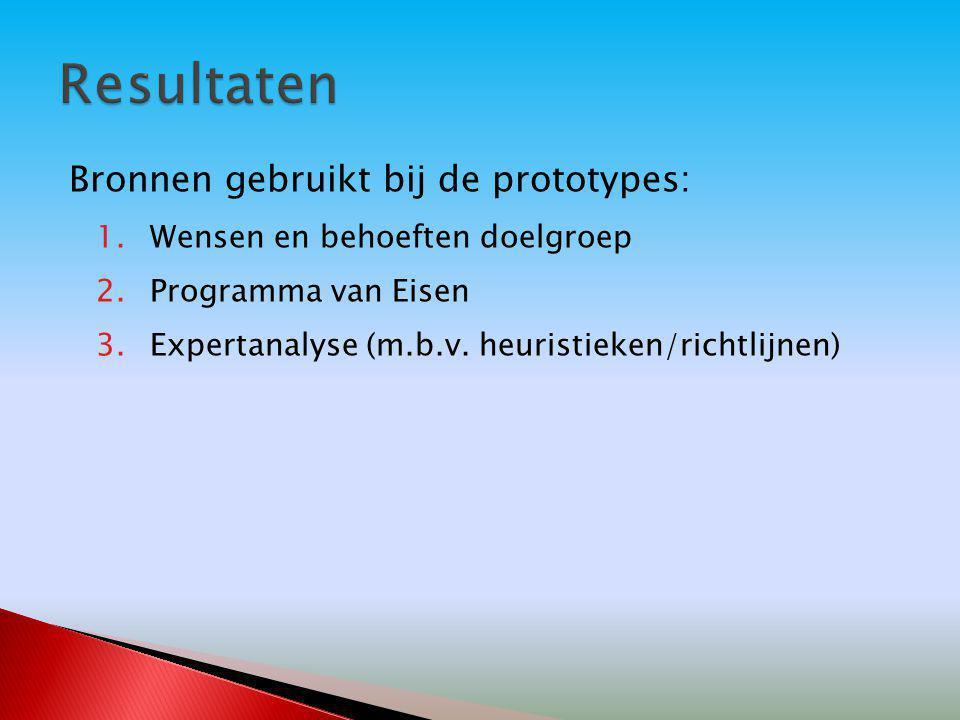 Bronnen gebruikt bij de prototypes: 1.Wensen en behoeften doelgroep 2.Programma van Eisen 3.Expertanalyse (m.b.v. heuristieken/richtlijnen)