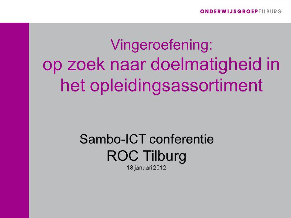 Vingeroefening: op zoek naar doelmatigheid in het opleidingsassortiment Sambo-ICT conferentie ROC Tilburg 18 januari 2012