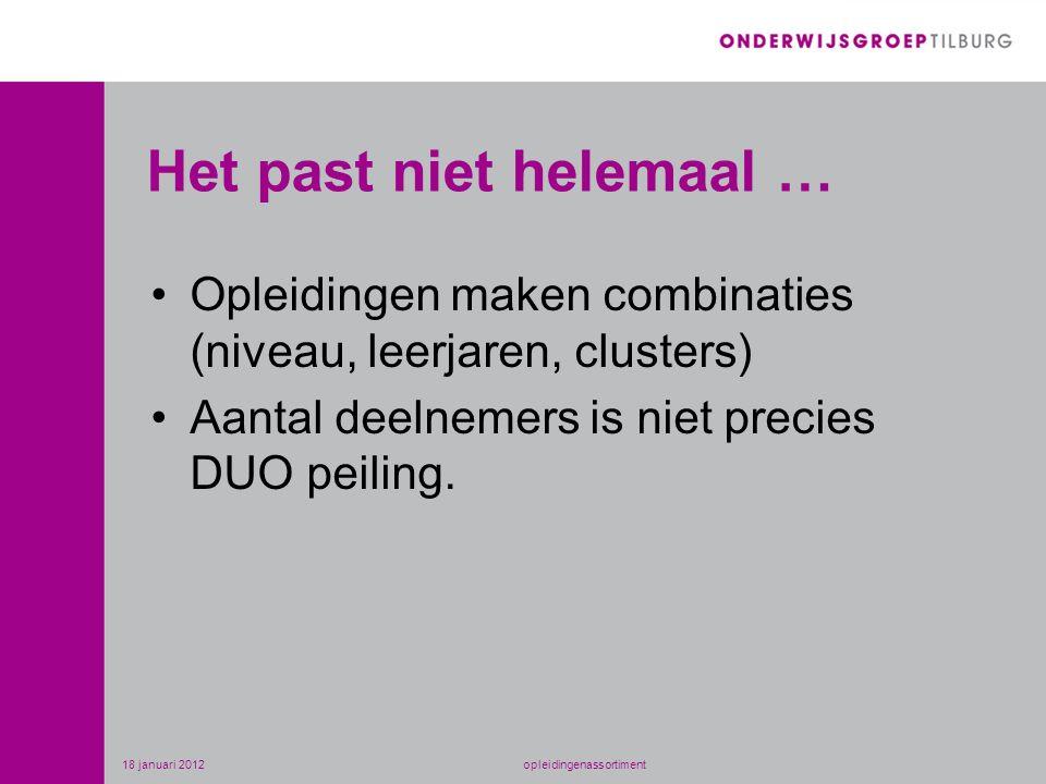 Het past niet helemaal … •Opleidingen maken combinaties (niveau, leerjaren, clusters) •Aantal deelnemers is niet precies DUO peiling. 18 januari 2012o