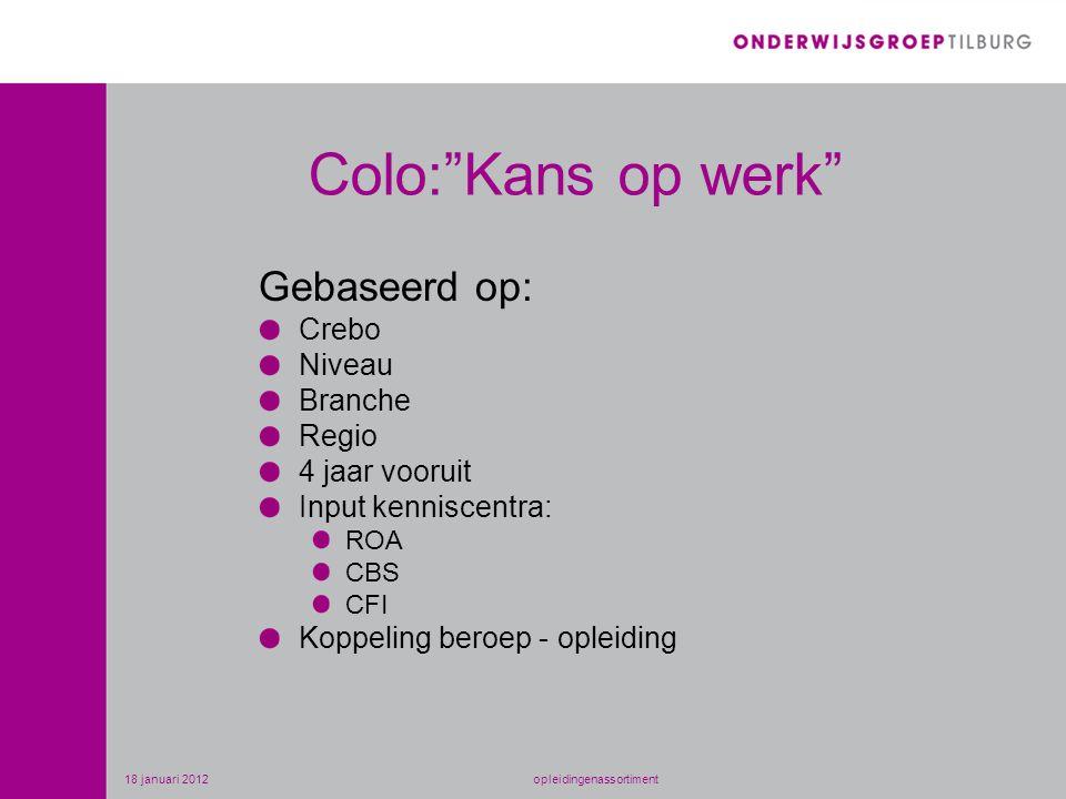 Colo: Kans op werk Gebaseerd op: Crebo Niveau Branche Regio 4 jaar vooruit Input kenniscentra: ROA CBS CFI Koppeling beroep - opleiding 18 januari 2012opleidingenassortiment