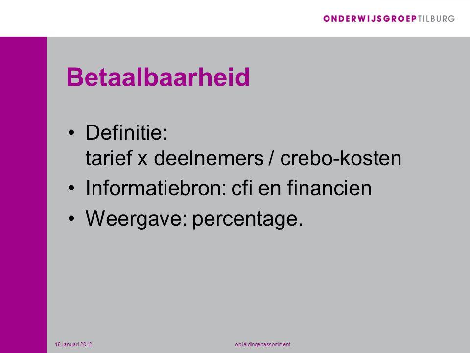 Betaalbaarheid •Definitie: tarief x deelnemers / crebo-kosten •Informatiebron: cfi en financien •Weergave: percentage. 18 januari 2012opleidingenassor