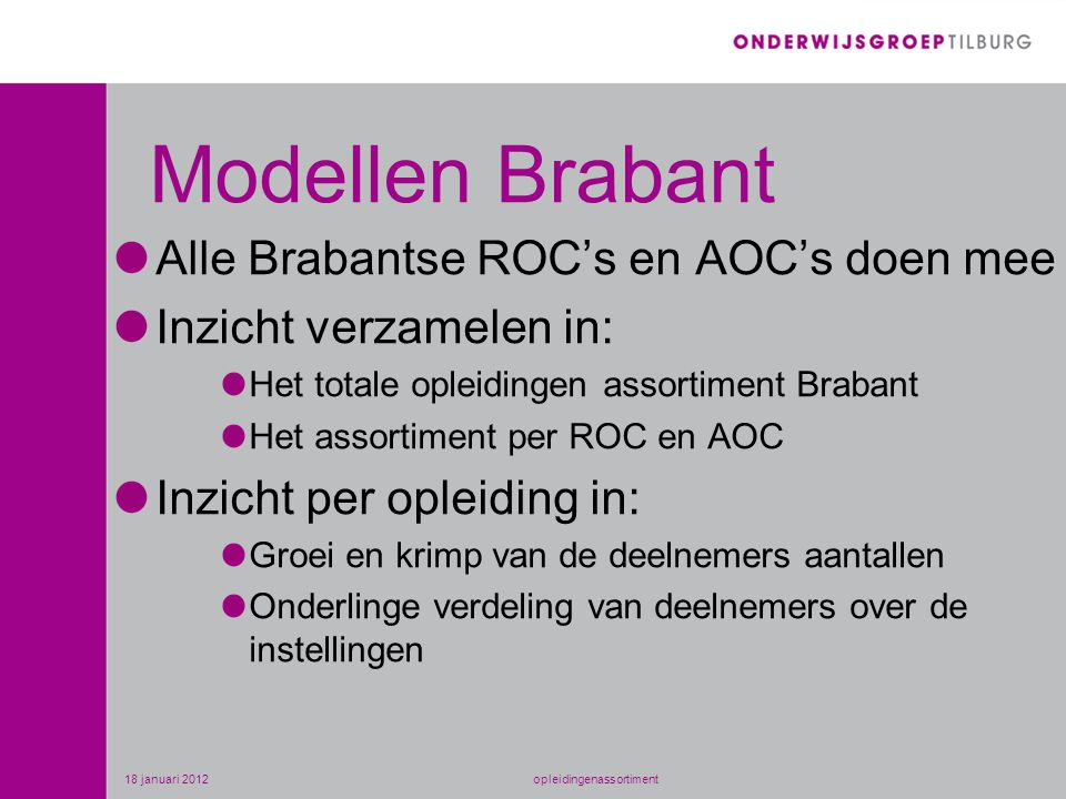 Modellen Brabant Alle Brabantse ROC's en AOC's doen mee Inzicht verzamelen in: Het totale opleidingen assortiment Brabant Het assortiment per ROC en AOC Inzicht per opleiding in: Groei en krimp van de deelnemers aantallen Onderlinge verdeling van deelnemers over de instellingen 18 januari 2012opleidingenassortiment