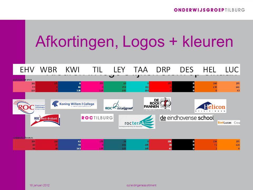 Afkortingen, Logos + kleuren Kleuren in logo's lijken sterk op elkaar! 18 januari 2012opleidingenassortiment