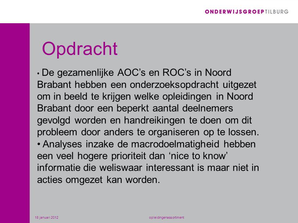 • De gezamenlijke AOC's en ROC's in Noord Brabant hebben een onderzoeksopdracht uitgezet om in beeld te krijgen welke opleidingen in Noord Brabant door een beperkt aantal deelnemers gevolgd worden en handreikingen te doen om dit probleem door anders te organiseren op te lossen.