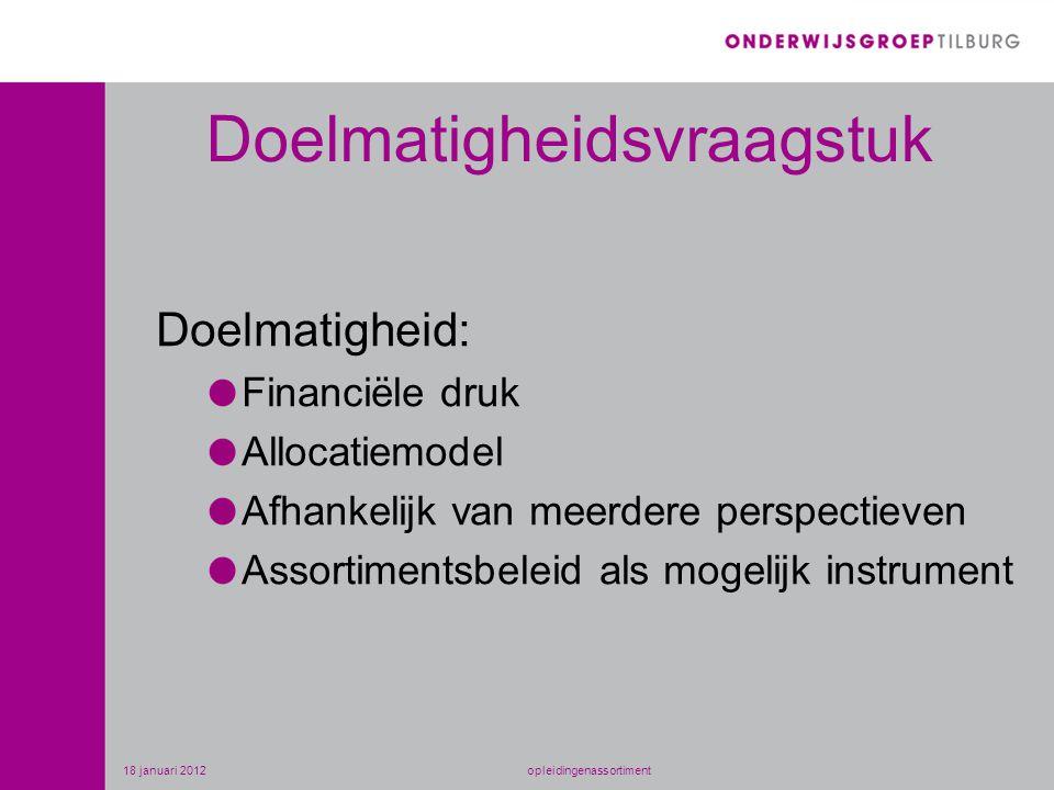 Doelmatigheidsvraagstuk Doelmatigheid: Financiële druk Allocatiemodel Afhankelijk van meerdere perspectieven Assortimentsbeleid als mogelijk instrument 18 januari 2012opleidingenassortiment