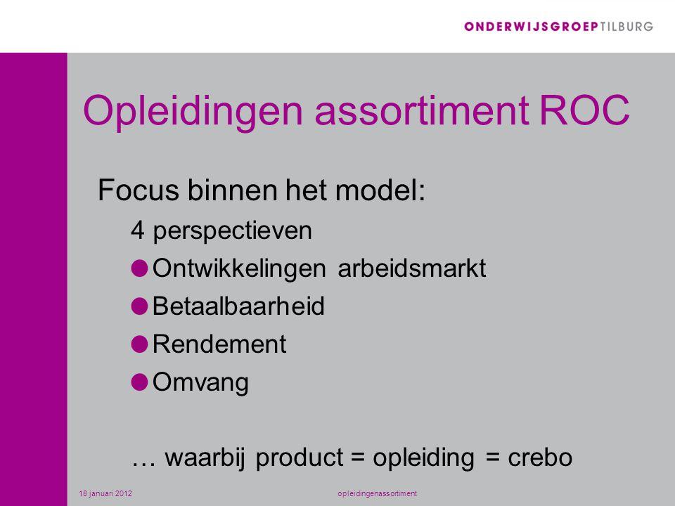 Opleidingen assortiment ROC Focus binnen het model: 4 perspectieven Ontwikkelingen arbeidsmarkt Betaalbaarheid Rendement Omvang … waarbij product = opleiding = crebo 18 januari 2012opleidingenassortiment