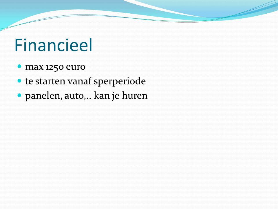Financieel  max 1250 euro  te starten vanaf sperperiode  panelen, auto,.. kan je huren
