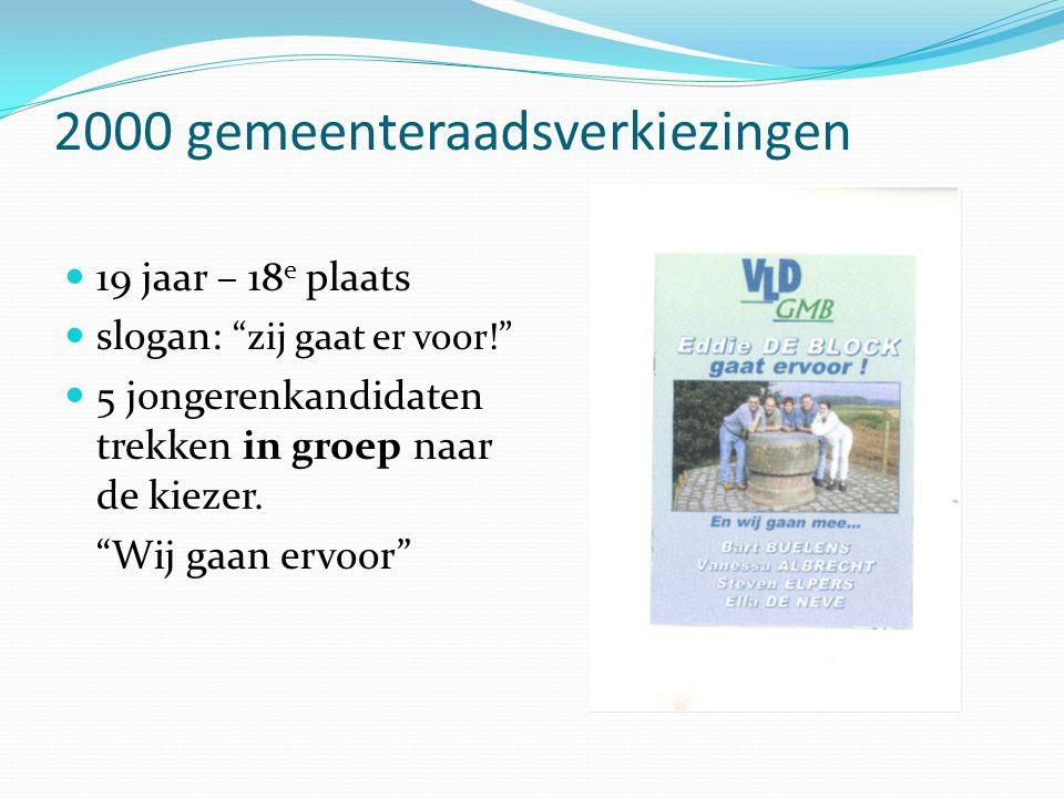 2000 gemeenteraadsverkiezingen  19 jaar – 18 e plaats  slogan: zij gaat er voor!  5 jongerenkandidaten trekken in groep naar de kiezer.