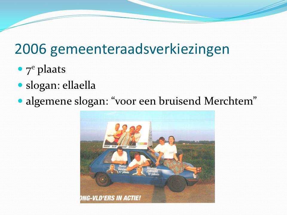 2006 gemeenteraadsverkiezingen  7 e plaats  slogan: ellaella  algemene slogan: voor een bruisend Merchtem