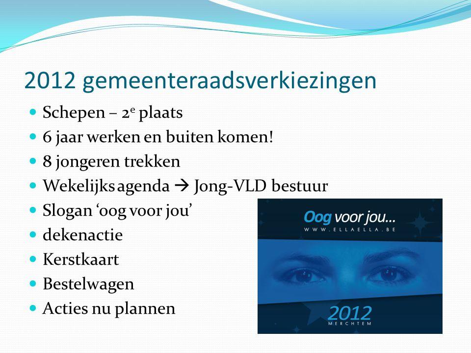2012 gemeenteraadsverkiezingen  Schepen – 2 e plaats  6 jaar werken en buiten komen.