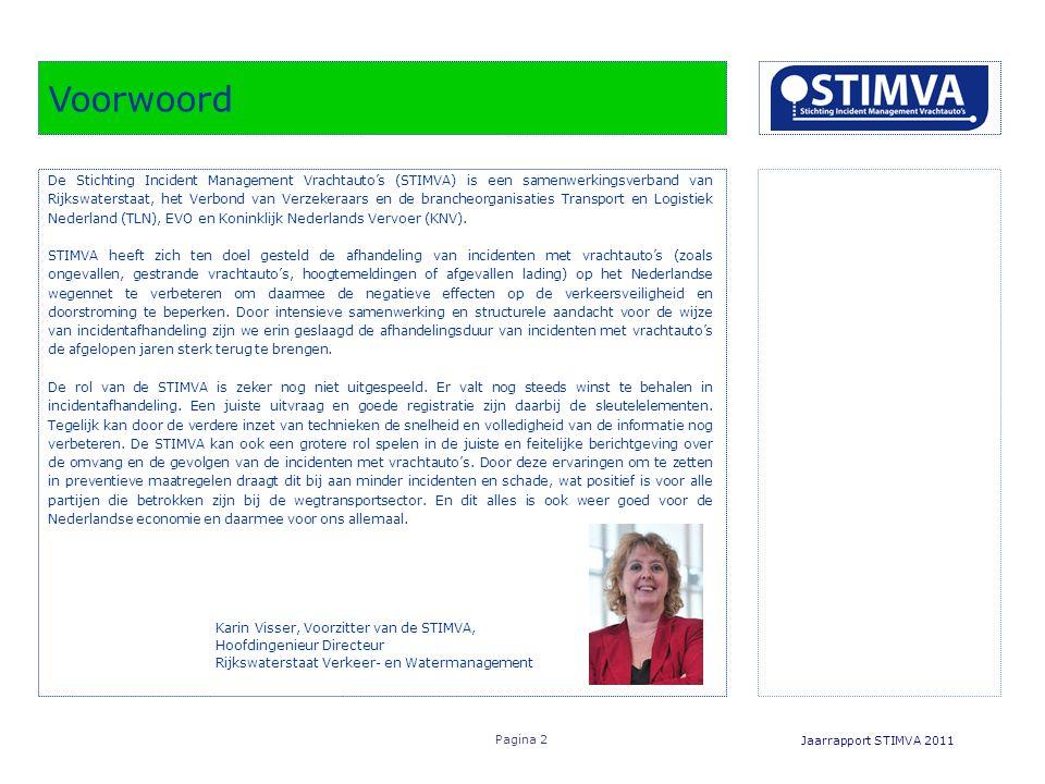 Voorwoord Jaarrapport STIMVA 2011 Pagina 2 De Stichting Incident Management Vrachtauto's (STIMVA) is een samenwerkingsverband van Rijkswaterstaat, het Verbond van Verzekeraars en de brancheorganisaties Transport en Logistiek Nederland (TLN), EVO en Koninklijk Nederlands Vervoer (KNV).