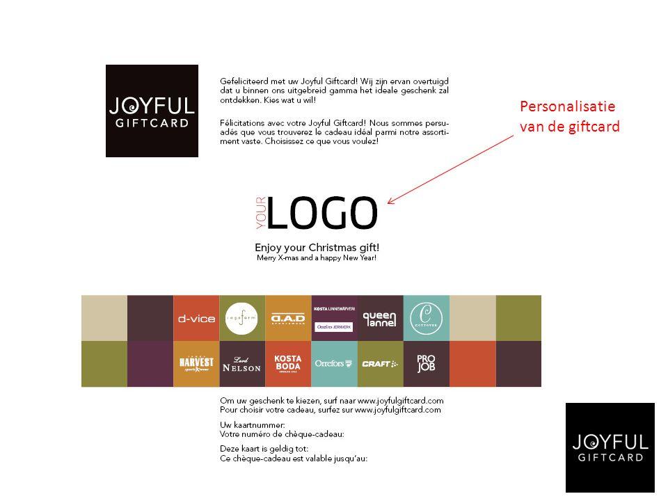 Personalisatie van de giftcard