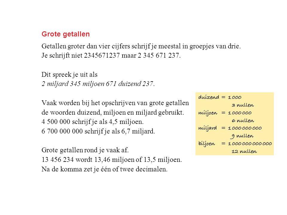 Grote getallen Getallen groter dan vier cijfers schrijf je meestal in groepjes van drie. Je schrijft niet 2345671237 maar 2 345 671 237. Dit spreek je