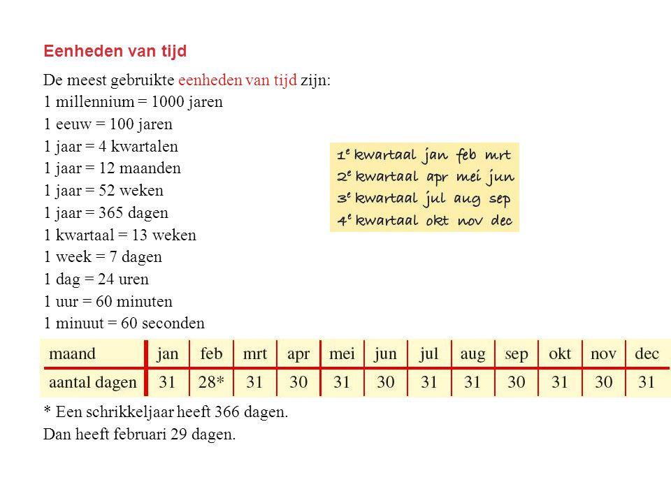 Eenheden van tijd De meest gebruikte eenheden van tijd zijn: 1 millennium = 1000 jaren 1 eeuw = 100 jaren 1 jaar = 4 kwartalen 1 jaar = 12 maanden 1 j
