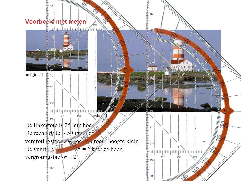 Voorbeeld met meten De linkerfoto is 25 mm hoog. De rechterfoto is 50 mm hoog. vergrotingsfactor = hoogte groot : hoogte klein De vuurtoren is 50 : 25