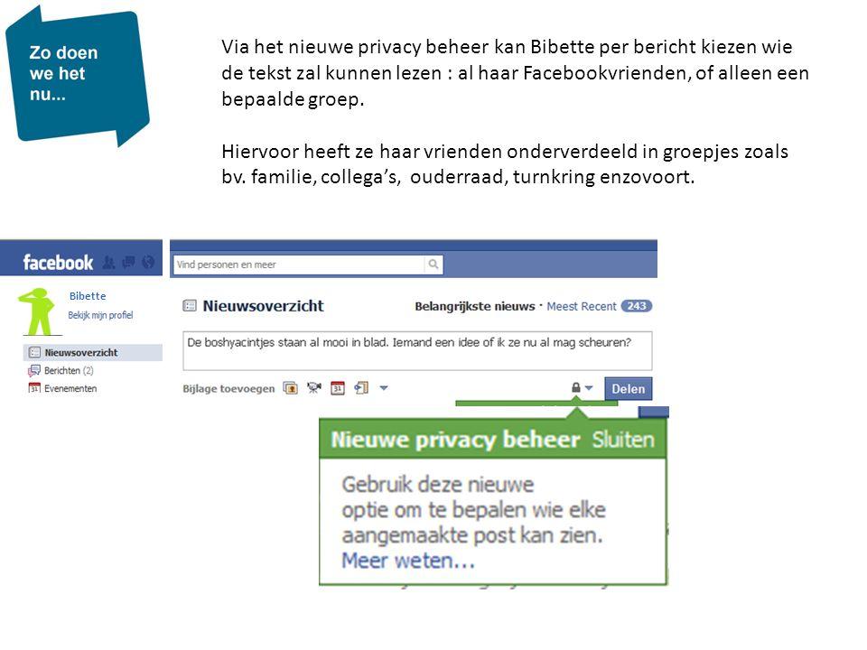 Bibette Via het nieuwe privacy beheer kan Bibette per bericht kiezen wie de tekst zal kunnen lezen : al haar Facebookvrienden, of alleen een bepaalde