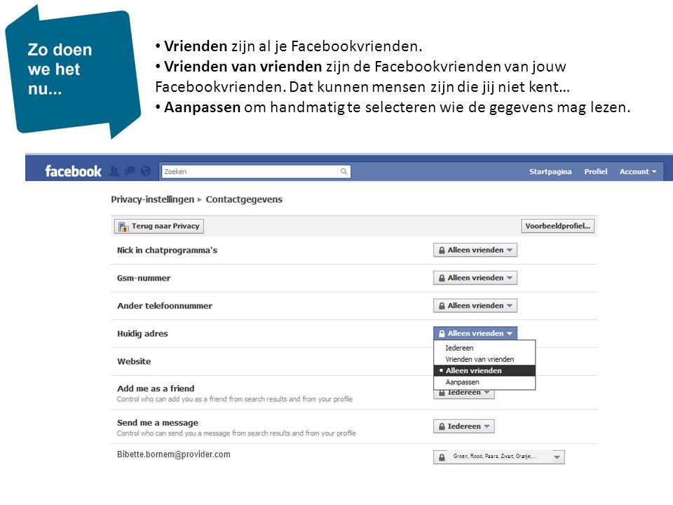 • Vrienden zijn al je Facebookvrienden. • Vrienden van vrienden zijn de Facebookvrienden van jouw Facebookvrienden. Dat kunnen mensen zijn die jij nie