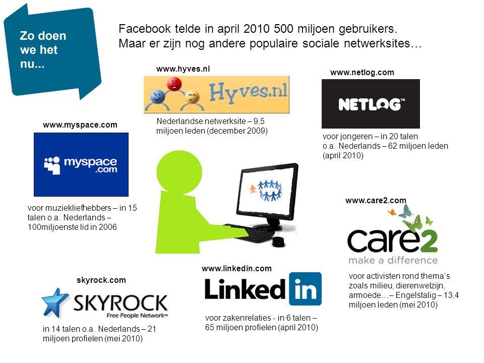 Facebook telde in april 2010 500 miljoen gebruikers. Maar er zijn nog andere populaire sociale netwerksites… voor jongeren – in 20 talen o.a. Nederlan