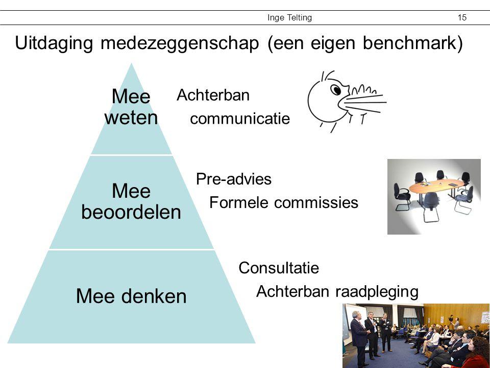 Inge Telting 15 Uitdaging medezeggenschap (een eigen benchmark) Mee weten Mee beoordelen Mee denken Consultatie Achterban raadpleging Pre-advies Forme