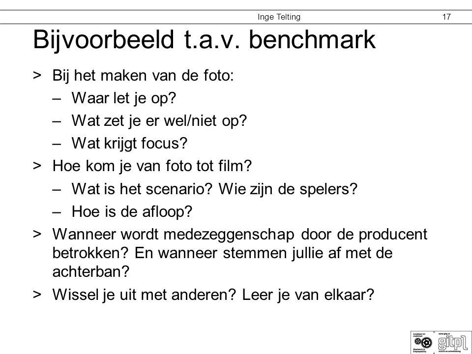 Inge Telting Bijvoorbeeld t.a.v. benchmark >Bij het maken van de foto: –Waar let je op? –Wat zet je er wel/niet op? –Wat krijgt focus? >Hoe kom je van