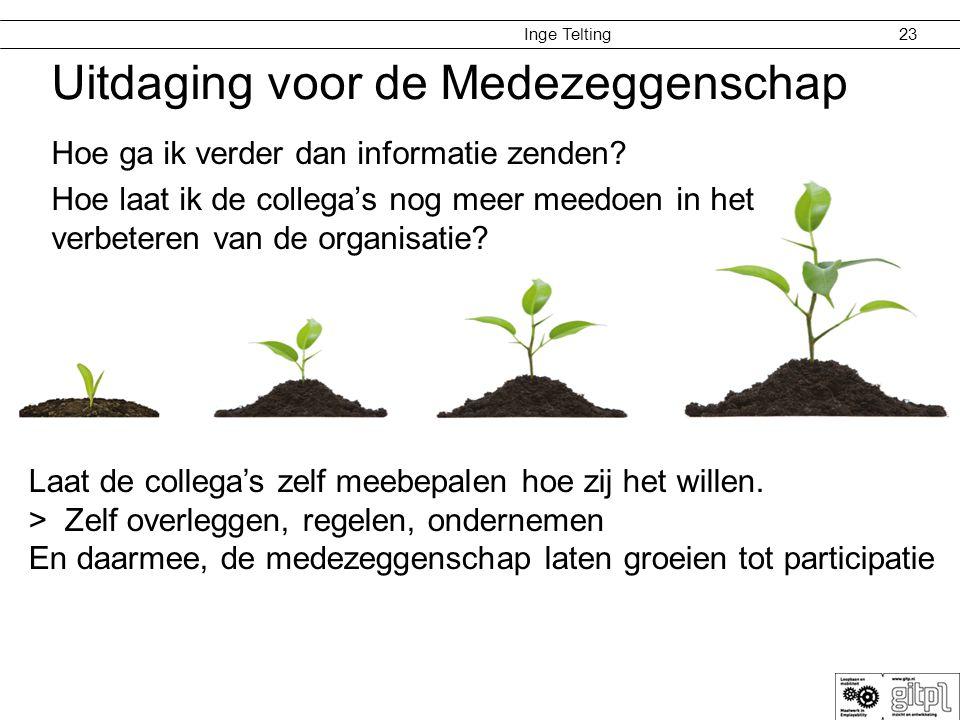 Inge Telting Uitdaging voor de Medezeggenschap Hoe ga ik verder dan informatie zenden? Hoe laat ik de collega's nog meer meedoen in het verbeteren van