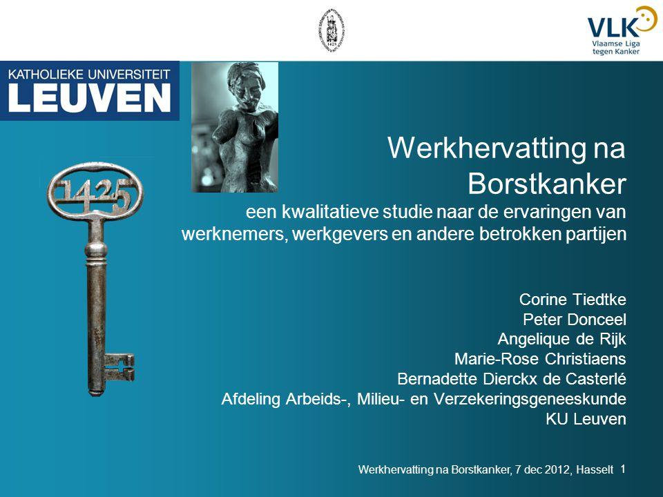 Werkhervatting na Borstkanker een kwalitatieve studie naar de ervaringen van werknemers, werkgevers en andere betrokken partijen Corine Tiedtke Peter