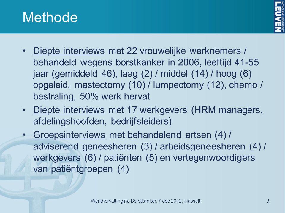 Methode •Diepte interviews met 22 vrouwelijke werknemers / behandeld wegens borstkanker in 2006, leeftijd 41-55 jaar (gemiddeld 46), laag (2) / middel