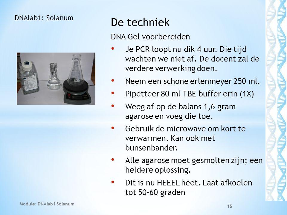 De techniek DNA Gel voorbereiden • Je PCR loopt nu dik 4 uur. Die tijd wachten we niet af. De docent zal de verdere verwerking doen. • Neem een schone