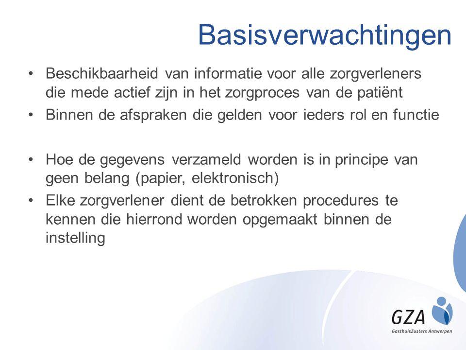 Basisverwachtingen •Beschikbaarheid van informatie voor alle zorgverleners die mede actief zijn in het zorgproces van de patiënt •Binnen de afspraken