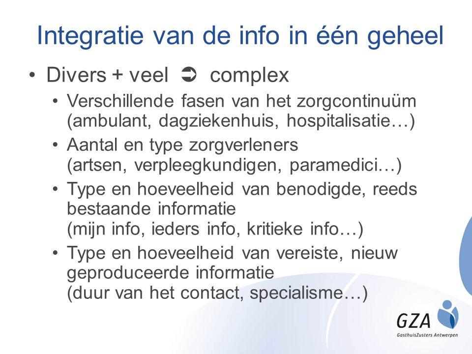 Integratie van de info in één geheel •Divers + veel  complex •Verschillende fasen van het zorgcontinuüm (ambulant, dagziekenhuis, hospitalisatie…) •A