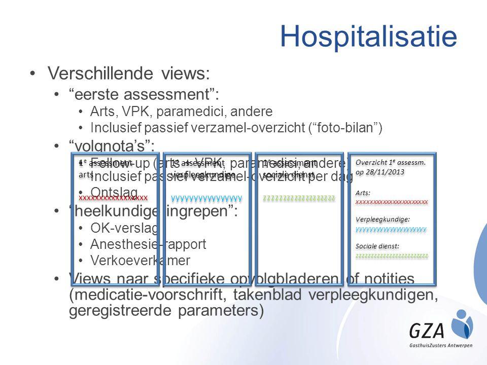 """Hospitalisatie •Verschillende views: •""""eerste assessment"""": •Arts, VPK, paramedici, andere •Inclusief passief verzamel-overzicht (""""foto-bilan"""") •""""volgn"""