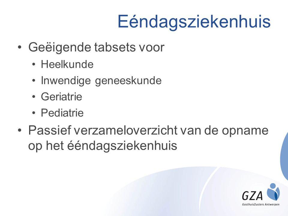 Eéndagsziekenhuis •Geëigende tabsets voor •Heelkunde •Inwendige geneeskunde •Geriatrie •Pediatrie •Passief verzameloverzicht van de opname op het éénd