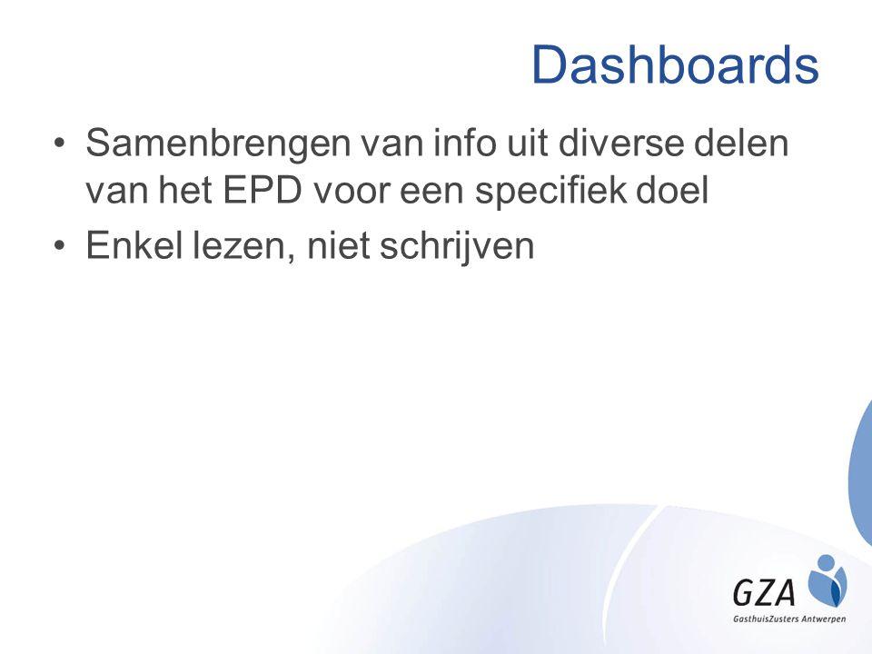 Dashboards •Samenbrengen van info uit diverse delen van het EPD voor een specifiek doel •Enkel lezen, niet schrijven