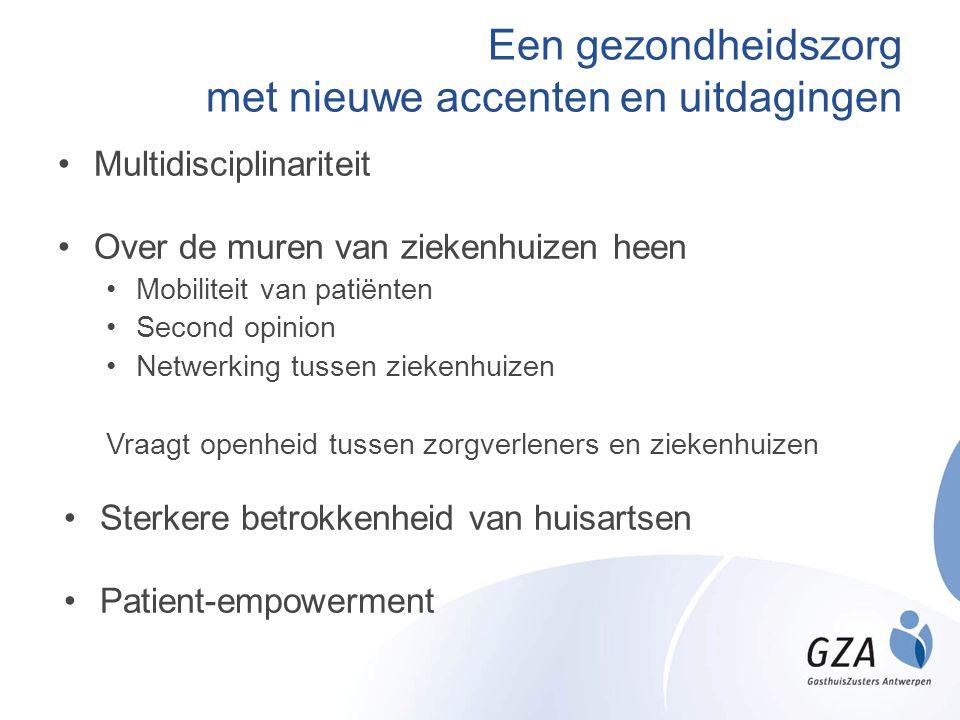 Een gezondheidszorg met nieuwe accenten en uitdagingen •Multidisciplinariteit •Over de muren van ziekenhuizen heen •Mobiliteit van patiënten •Second o